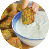 Cheesy Broccoli Tot dipped in homemade ranch